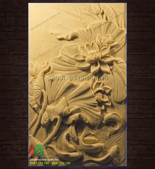 Phù điêu sen cá composite nghệ thuật Hà Nội