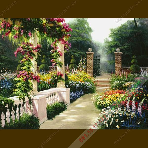 Tranh sơn dầu phong cảnh hoa viên