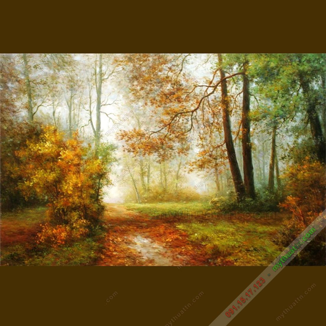 Tranh sơn dầu phong cảnh mùa thu vàng
