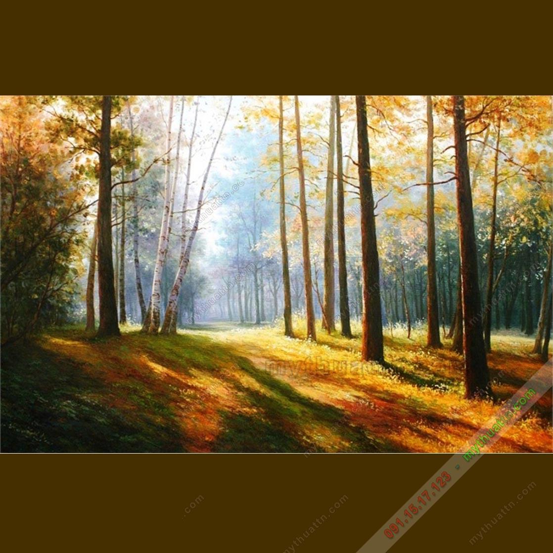 Tranh sơn dầu phong cảnh mùa thu châu Âu