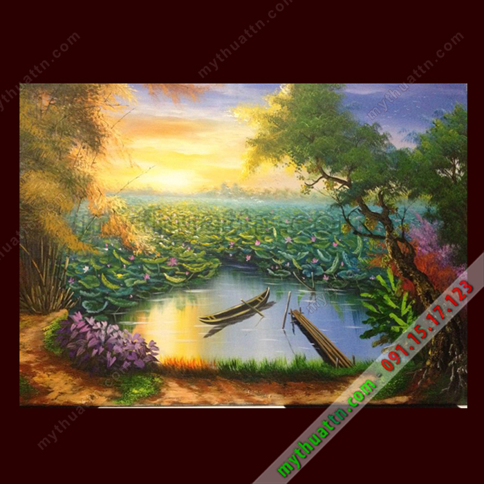 Tranh phong cảnh sơn ao làng