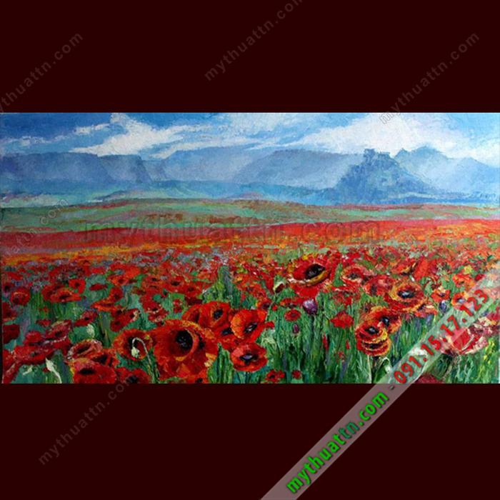 Tranh sơn dầu phong cảnh rừng hoa