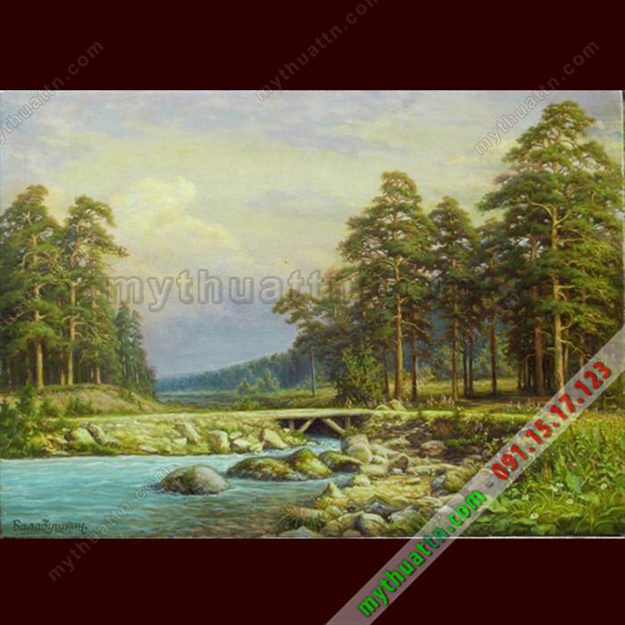 Tranh sơn dầu phong cảnh con suối