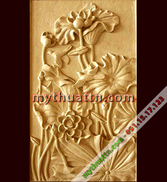 Tranh phù điêu hoa sen 022