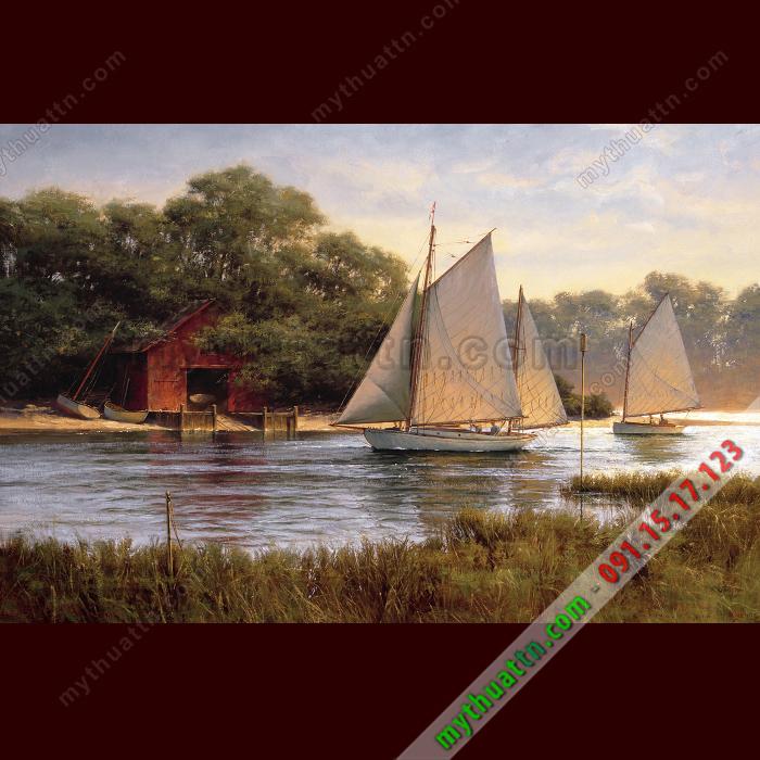 Tranh sơn dầu thuyền trên sông