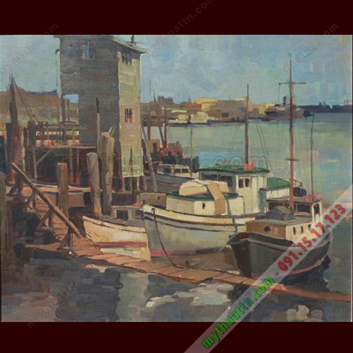 Tranh sơn dầu bến cảng