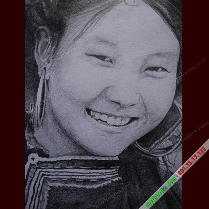 Tranh chân dung cô gái H'Mong chì 002