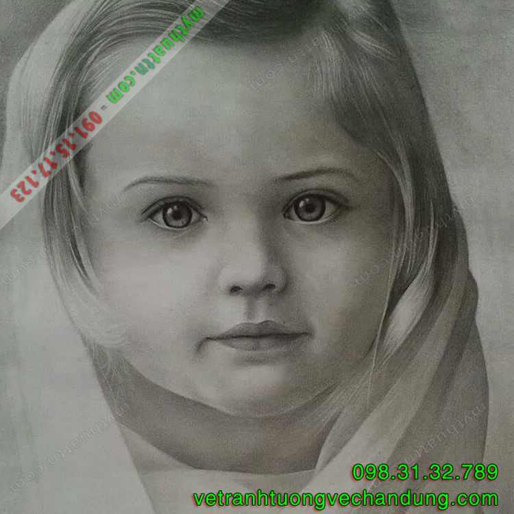 Tranh chân dung em bé chì than 014
