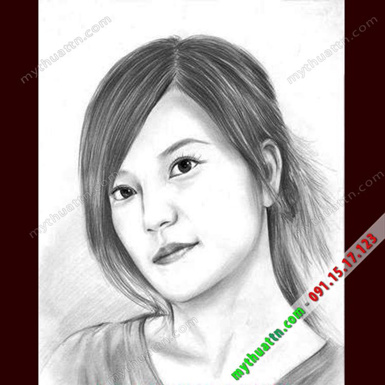 Tranh chân dung chì Triệu Vy 032