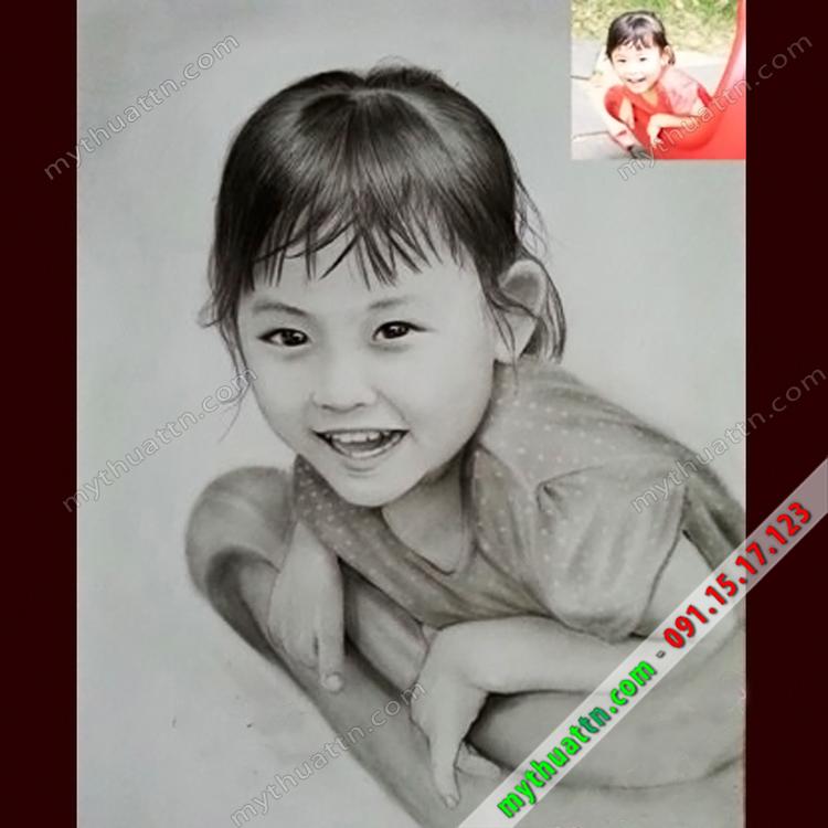 Tranh chân dung bé gái 039