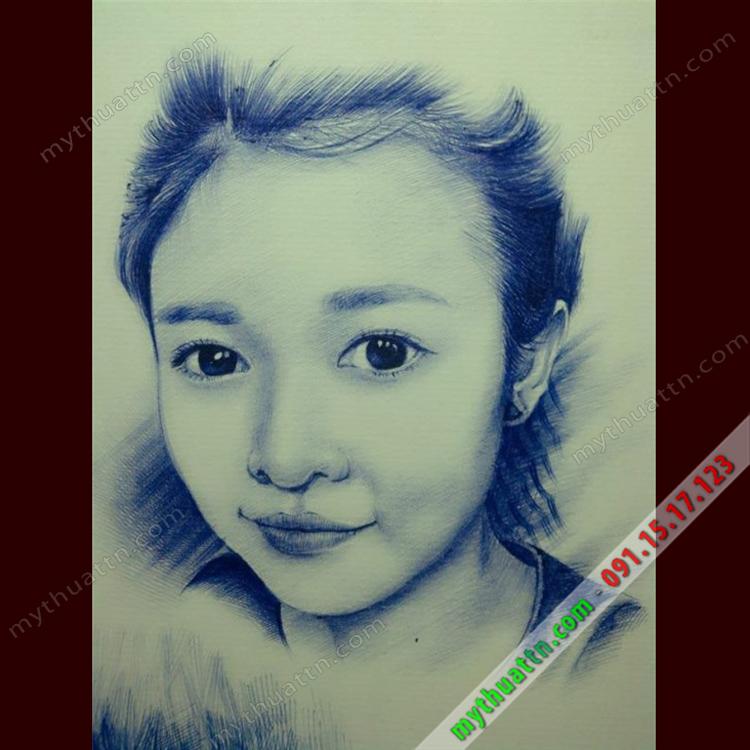 chân dung bút bi xanh 001