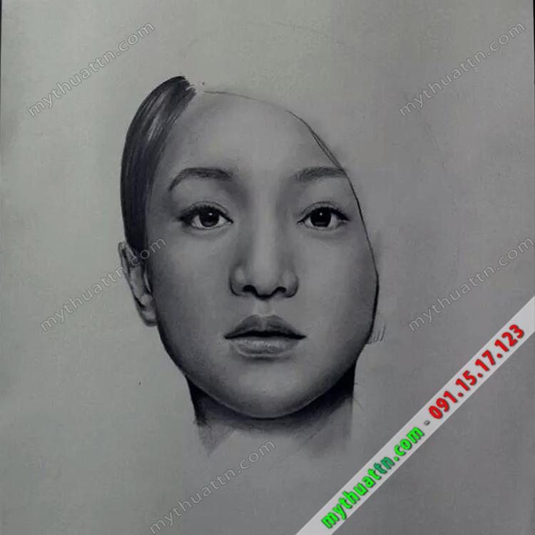 Vẽ tranh Chân dung diễn viên Châu Tấn