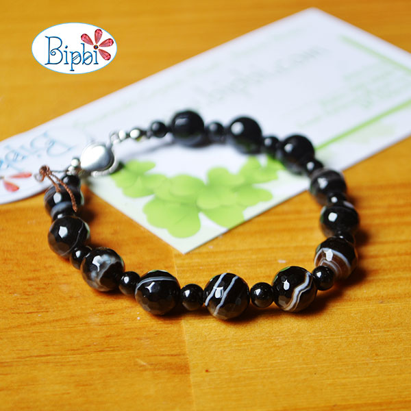 BR009 - Handmade black agate bracelet