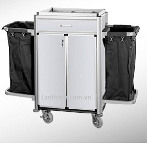 Aluminium maid cart with door and drawer, 3162222DW