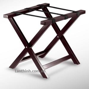 Wood luggage rack in dark walnut color, 3313100