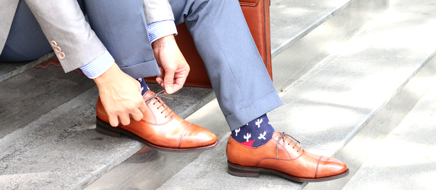 Gooyear handmade shoes Cap toe Oxford