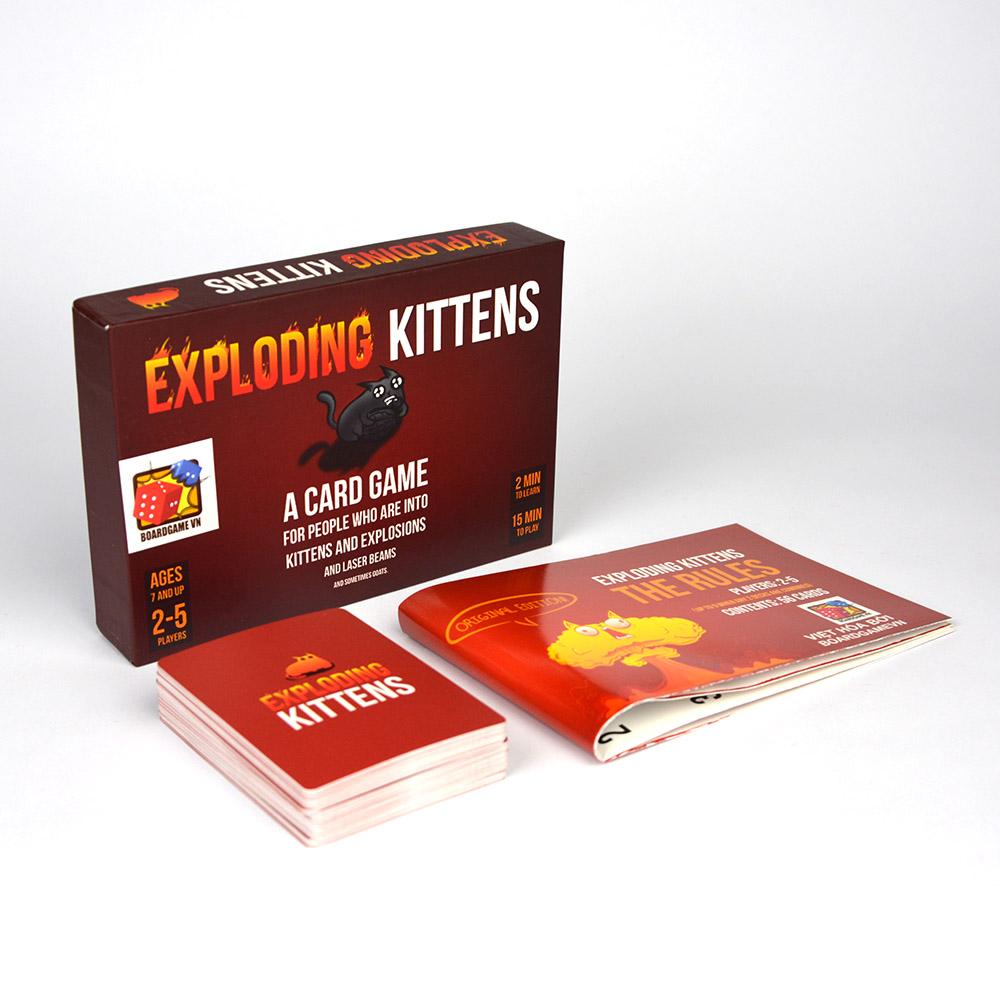 Combo Exploding Kitten - 02 bộ Mèo nổ màu đỏ và đen cơ bản