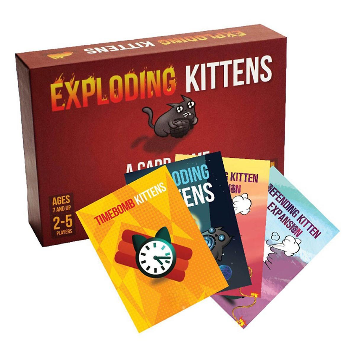 Combo Bài Mèo Nổ Exploding Kittens + 4 Bản Mèo Mở Rộng + Bọc Bài