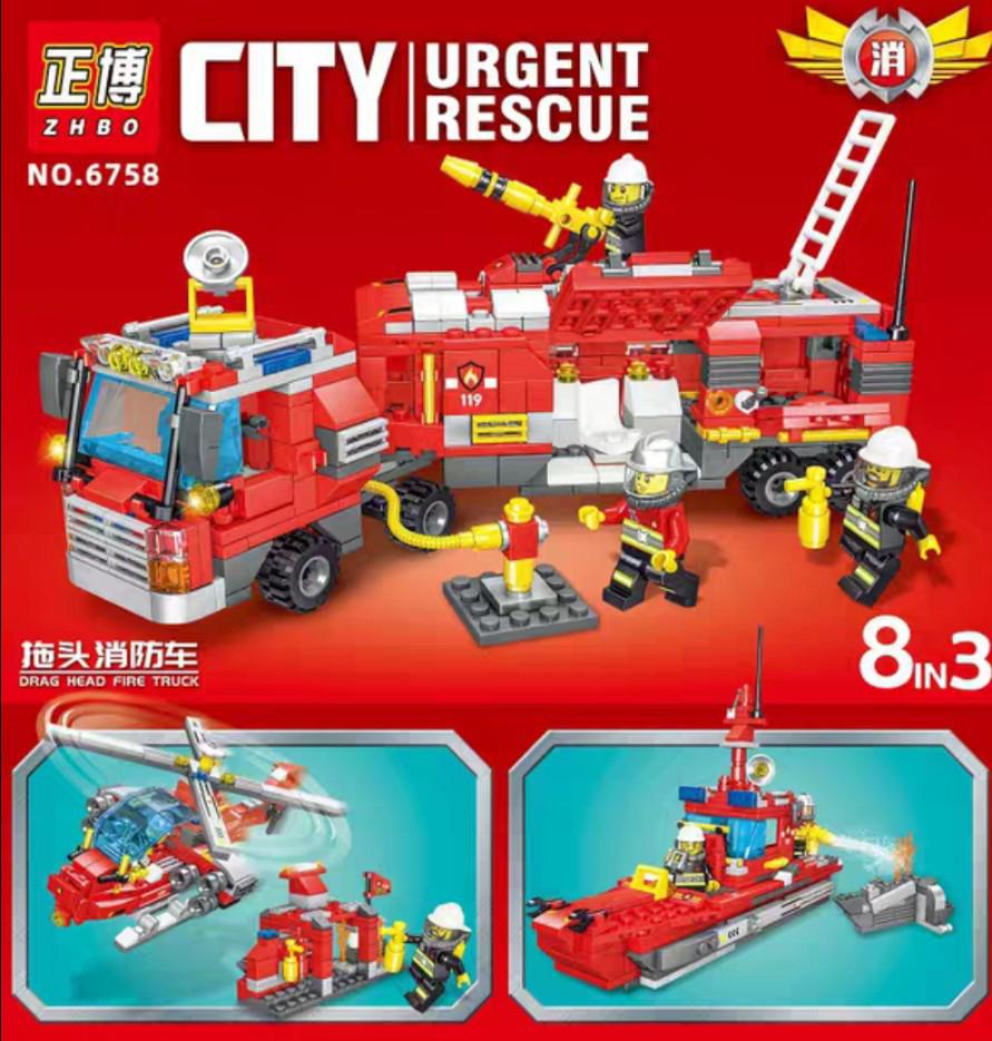 Lắp ráp Lego city xe cứu hỏa -6756