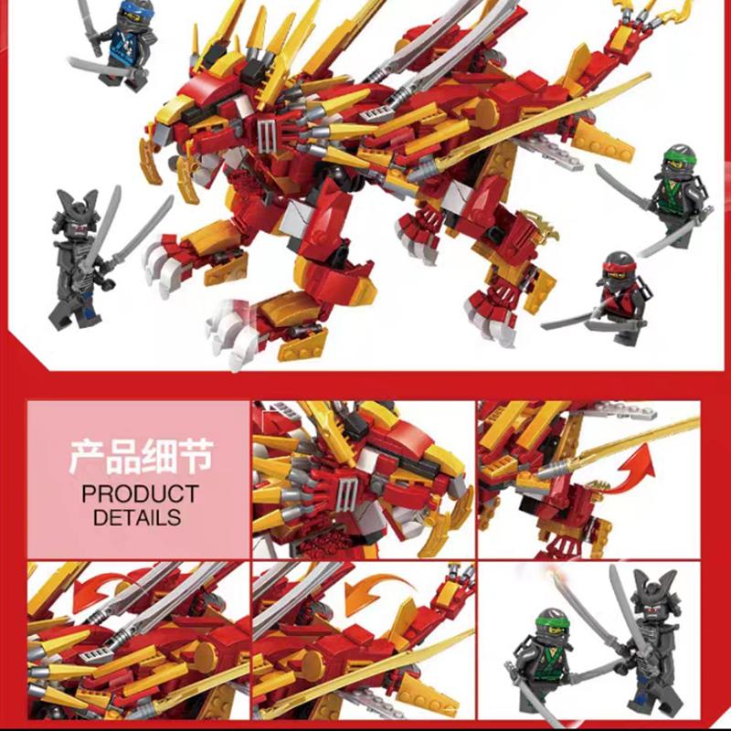 Lắp ráp lego Ninja Rồng Sấm Sét báo lửa - LEDOU 76012