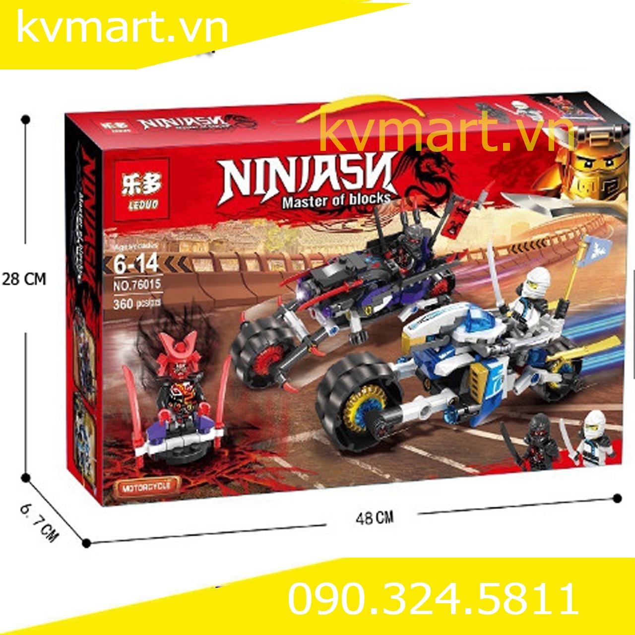 Đồ chơi lego Ninjago đua xe đường phố đuổi bắt Snake Jaguar - LEDUO 76015