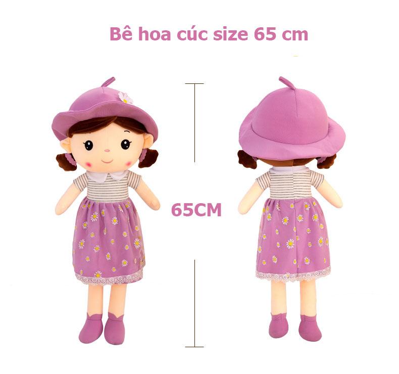 Búp bê nhồi bông đội mũ hoa cúc - 65 cm