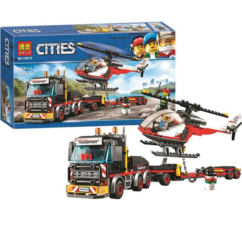 Lắp ráp Lego City Xe Vận chuyển Trực Thăng Heavy Cargo Transport 322 miếng ghép - BELA 10872