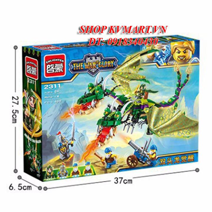 Bộ đồ chơi lắp rápEnlighten 2311- Rồng 2 đầu thức giấc