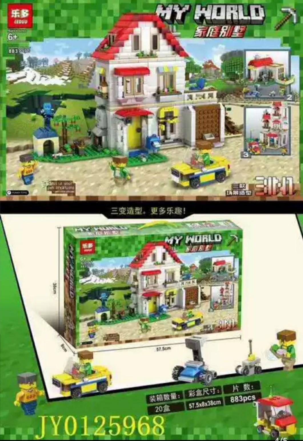 Bộ l ắp ráp Lego minecraft my world Ngôi nhà biệt thự 3in1 883 mảnh LEDUO 6007