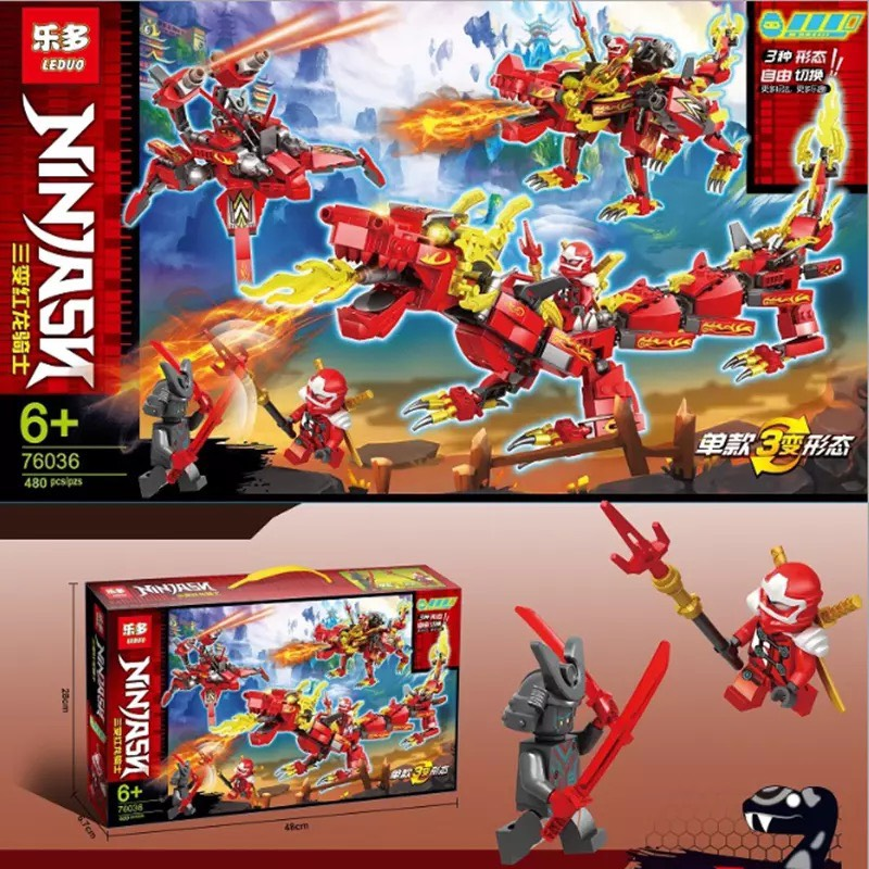 Lắp ráp lego Ninja Rồng Sấm Sét báo lửa - LEDOU 76036