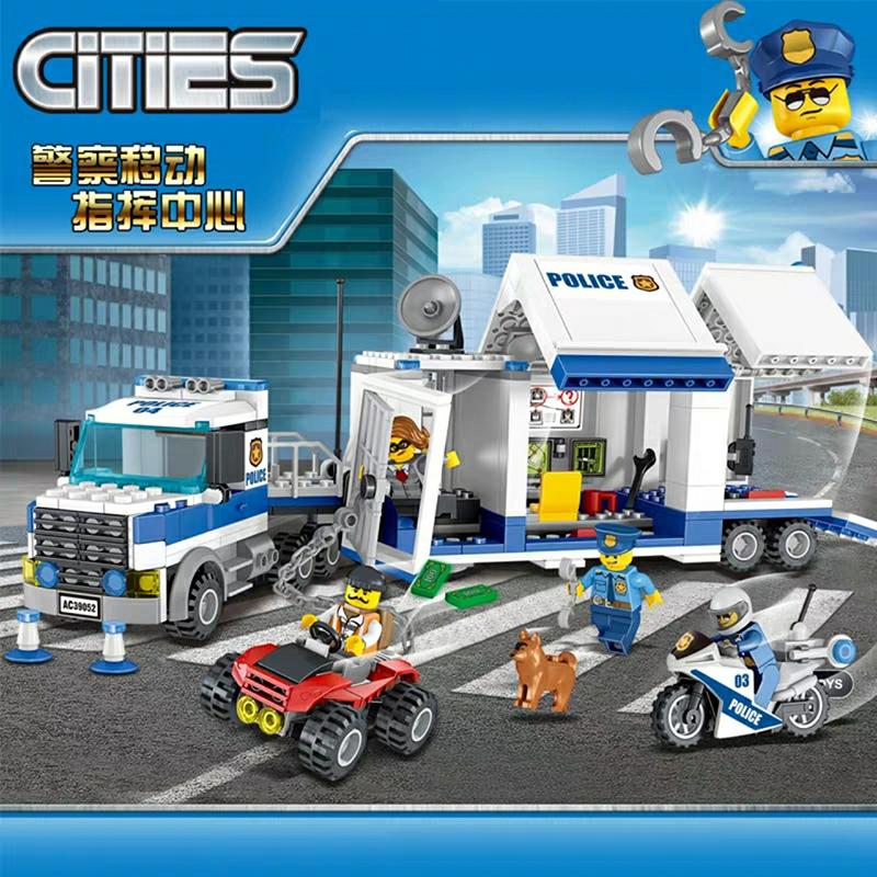 Lắp ráp Lego City rung Tâm Chỉ Huy Trên Xe Tải Của Cảnh Sát 398 miếng ghép - Lele 39052