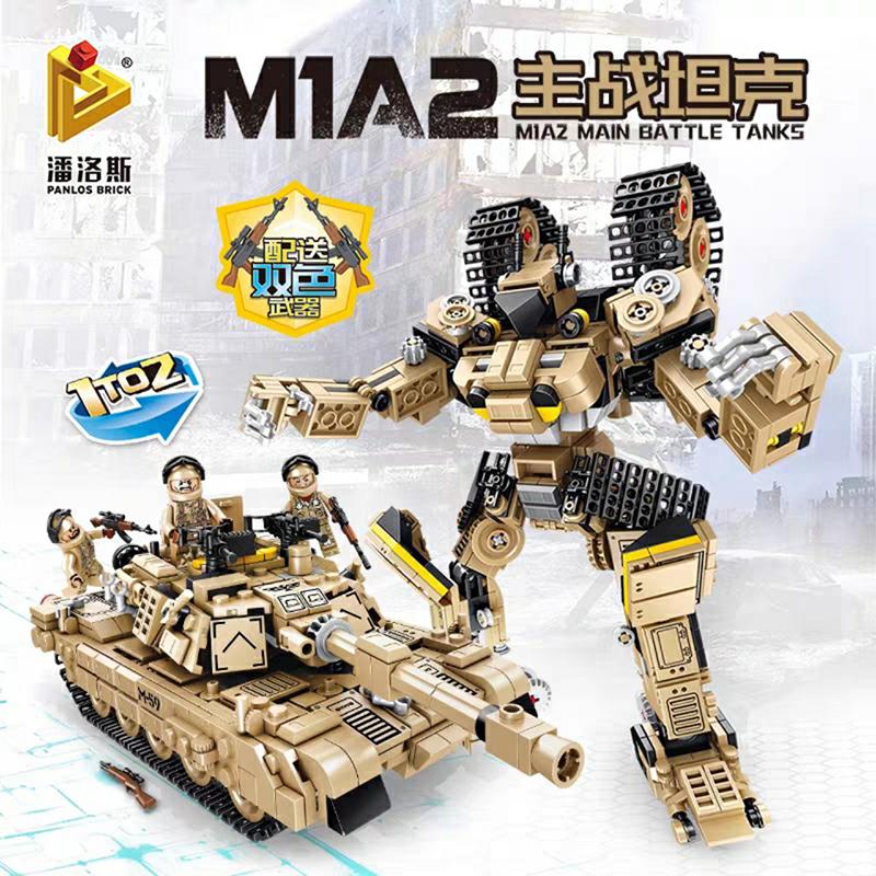 Lắp ráp lego 2 trong 1 Xe tanks M1A2 biến hình robot 810 Chi Tiết - Panlos 621020