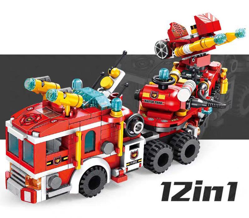 Bộ lắp ráp 12Trong 1 Mô Hình xe cứu hỏa- Panlos 633009