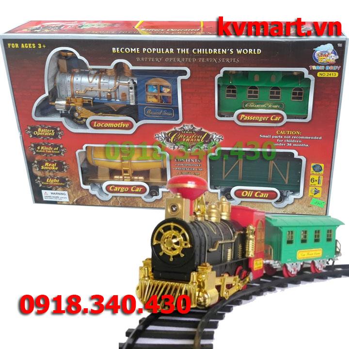 Bộ đồ chơi tầu hỏa phun khói chạy pin - No.2314