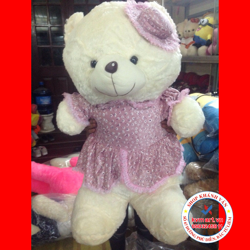 Gấu teddy váy nhung đội mũ