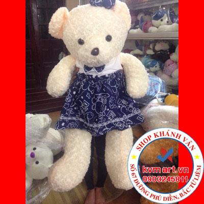 Gấu Teddy váy hoa xanh 105cm