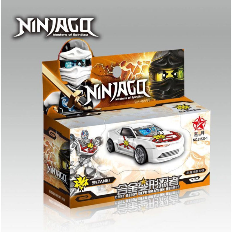 Hộp đồ chơi xe ô tô sắt ninjago biến hình robot