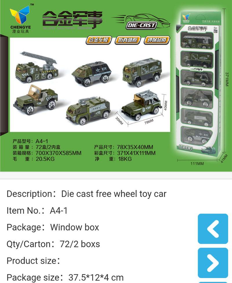 Đồ chơi mô hình 6 xe oto Quân sựlàm bằng sắt - A41