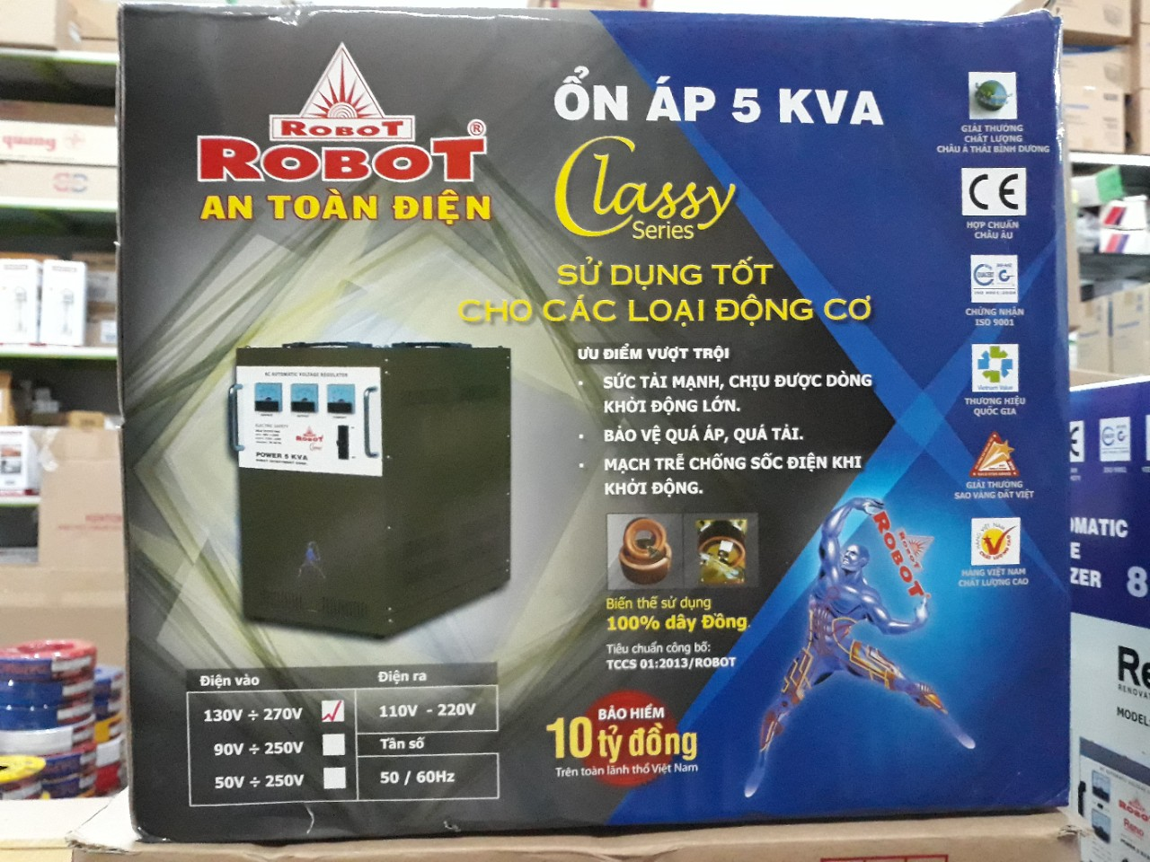 Ổn Áp Robot Classy 5KVA (130-270V)