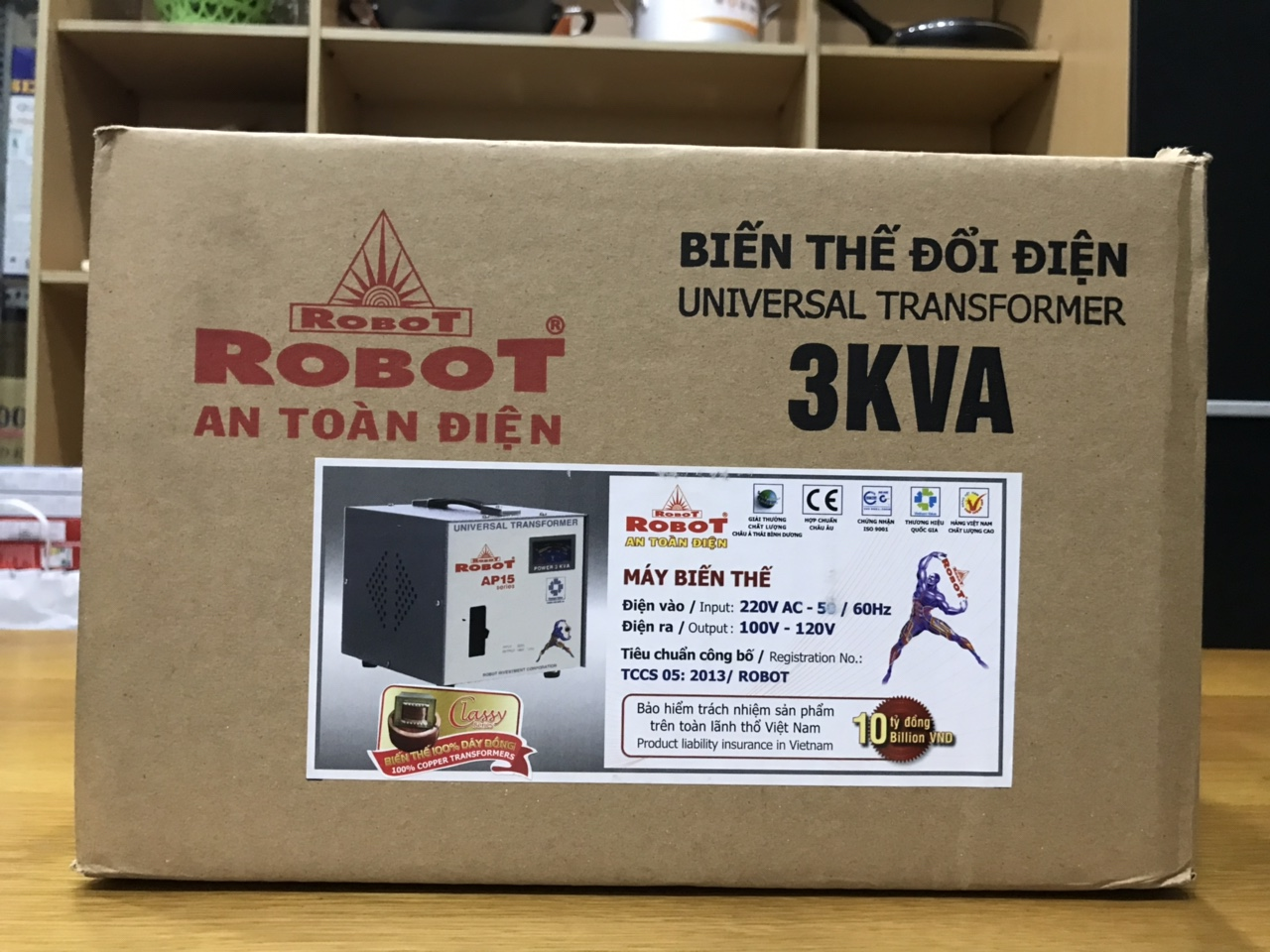 Biến Thế Đổi Điện 1 Pha Robot 3KVA (Dây đồng)