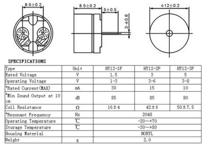 A0215 - Passive buzzer HY12