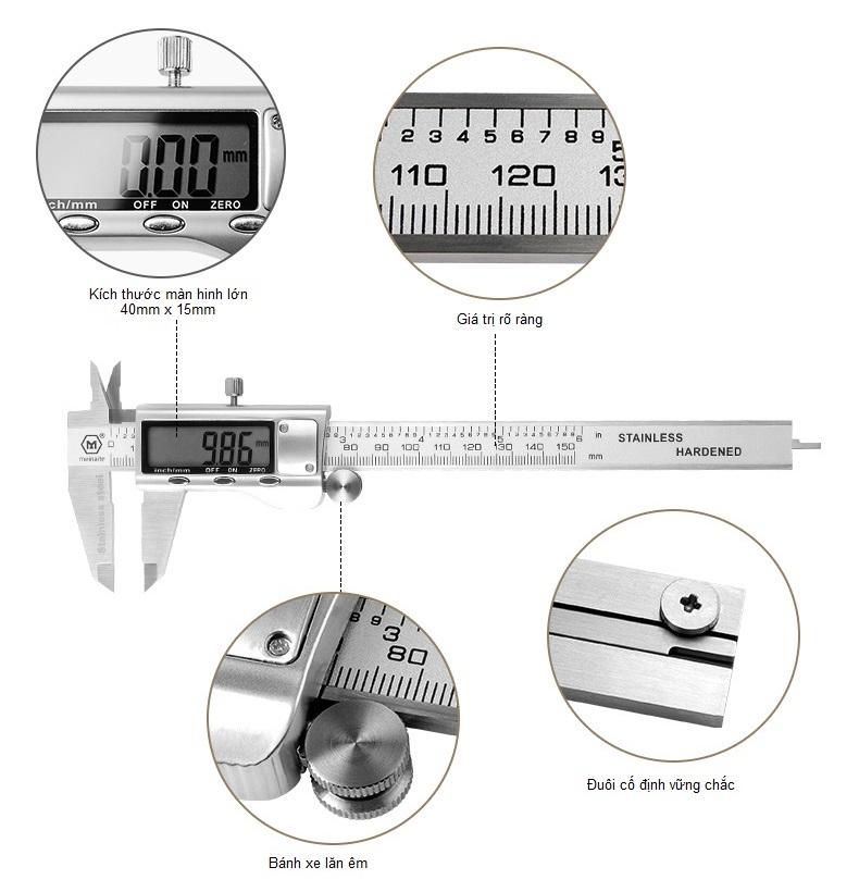 Z3321B101 - Thước kẹp kỹ thuật số màn hình LCD 150mm