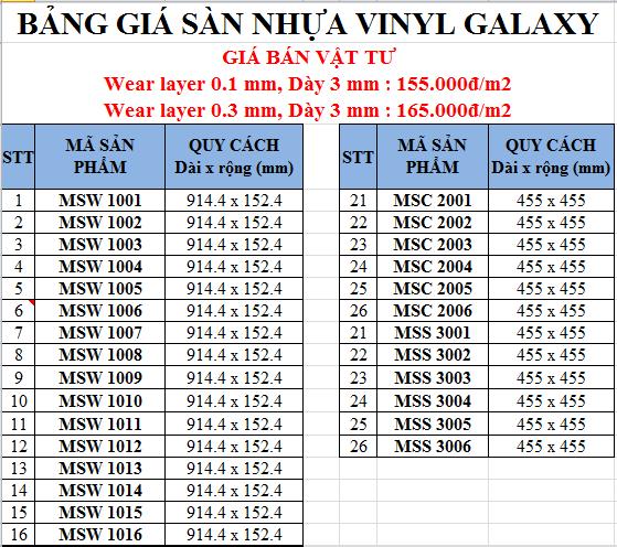 giá sàn nhựa keo dán vinyl galaxy