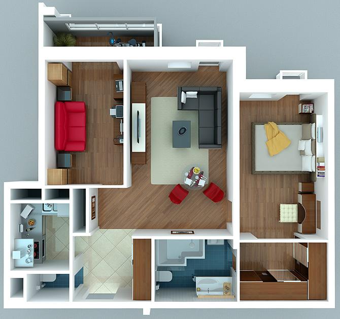 Phối cảnh 3D căn hộ chung cư 2 phòng ngủ đẹp