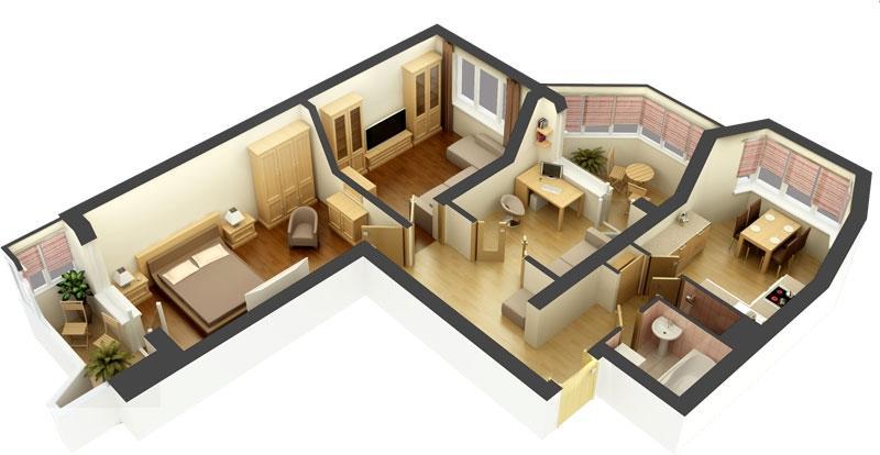 Phối cảnh căn hộ chung cư 2 phòng ngủ đẹp