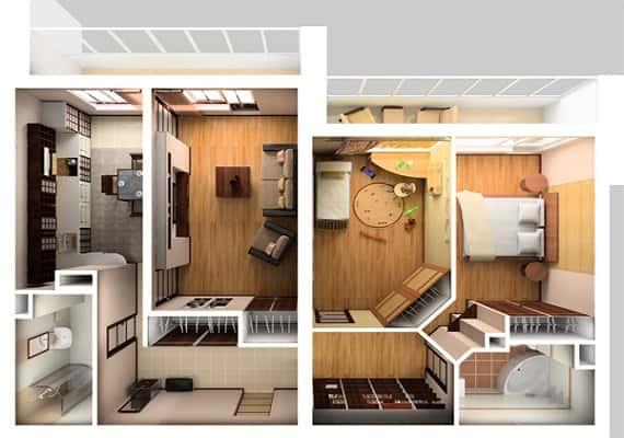 Phối cảnh chung cư 2 phòng ngủ đẹp