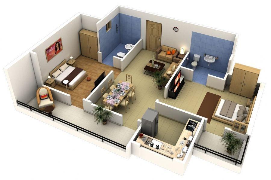 Phối cảnh 3D căn hộ chung cư 2 phòng ngủ đẹp nhất