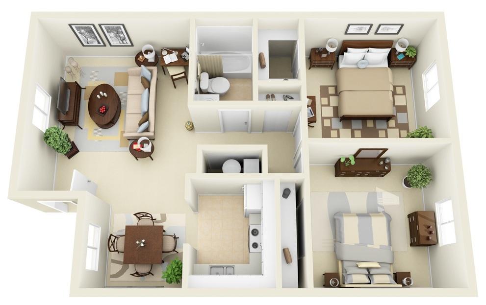 Phối cảnh thiết kế chung cư 2 phòng ngủ đẹp