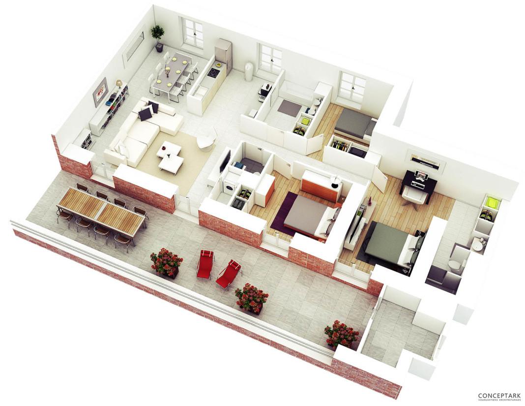 Thiết kế nội thất căn hộ 3 hòng ngủ đẹp