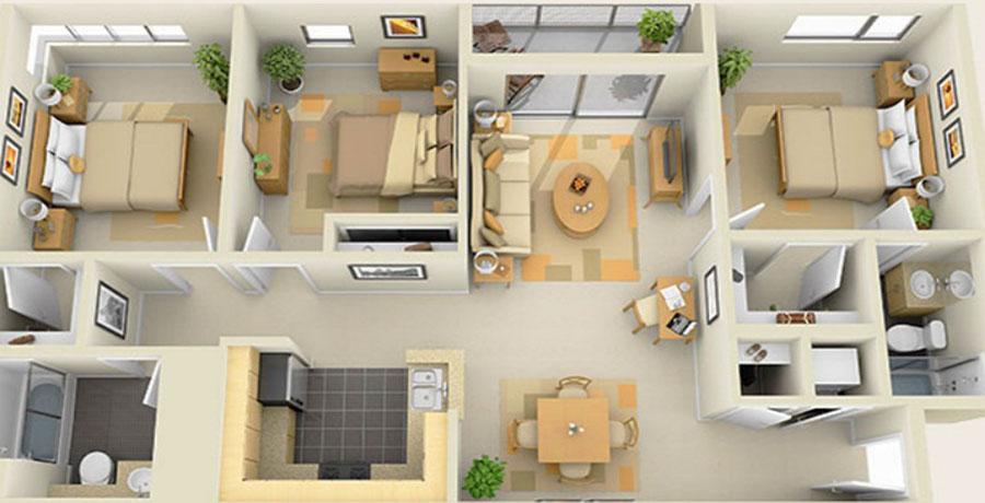 Phối cảnh căn hộ 3 phòng ngủ đẹp